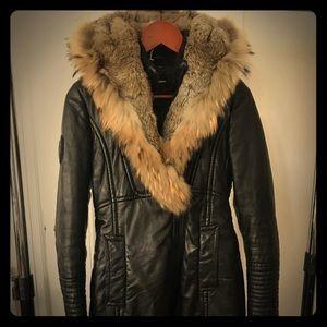 Rudsak Adelyna black leather quilted parka